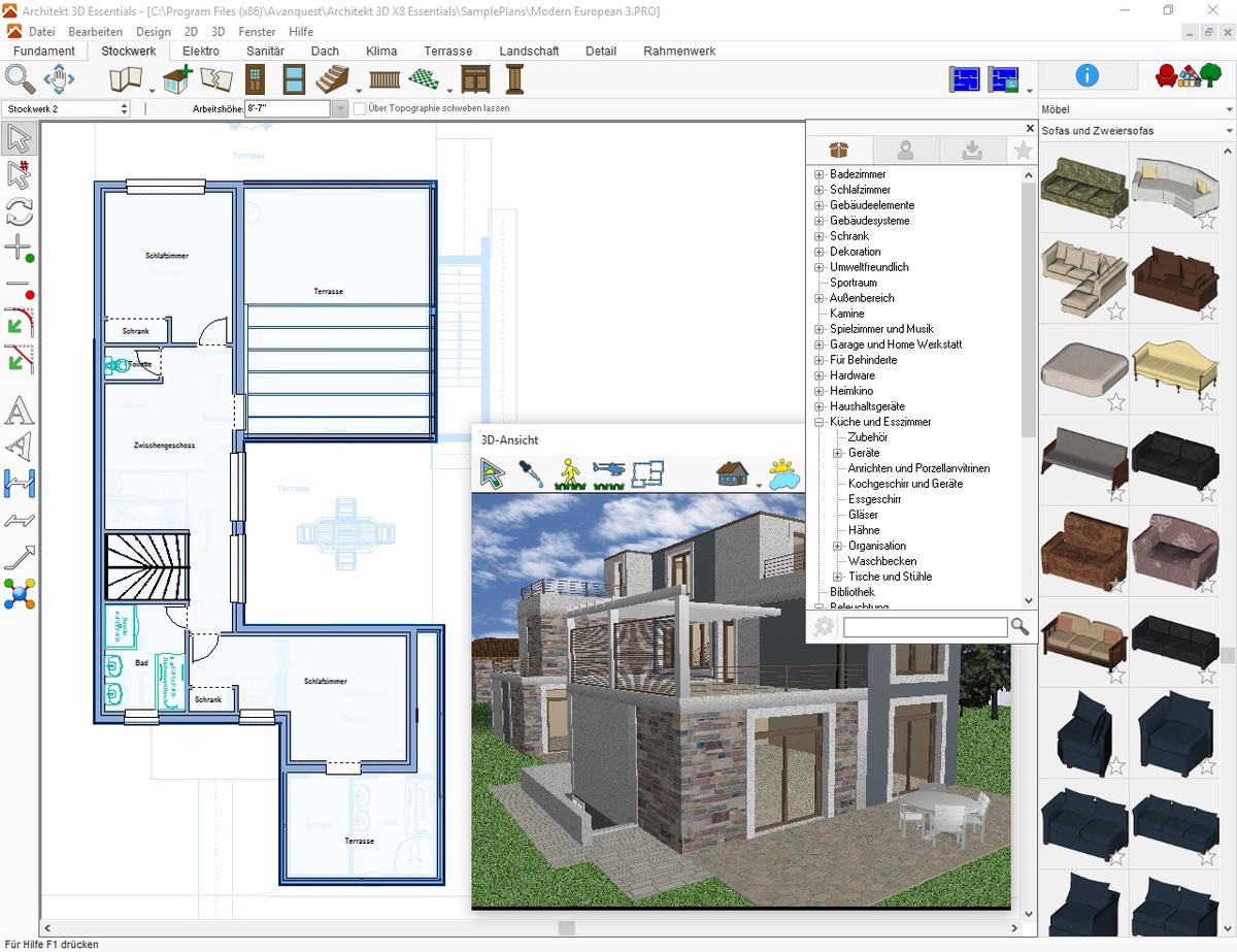 architekt 3d x8 essentials g nstig online kaufen. Black Bedroom Furniture Sets. Home Design Ideas