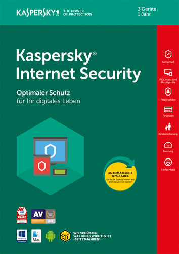 Verpackung von Kaspersky Internet Security - 3 Geräte / 12 Monate [MULTIPLATFORM]