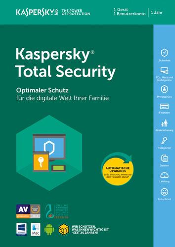 Verpackung von Kaspersky Total Security (Code in a Box) (FFP) - 1 Gerät / 12 Monate [MULTIPLATFORM]