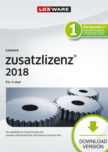 Verpackung von Lexware zusatzlizenz 2018 für Produkte der professional und premium line (365 Tage) für 5 User [PC-Software]