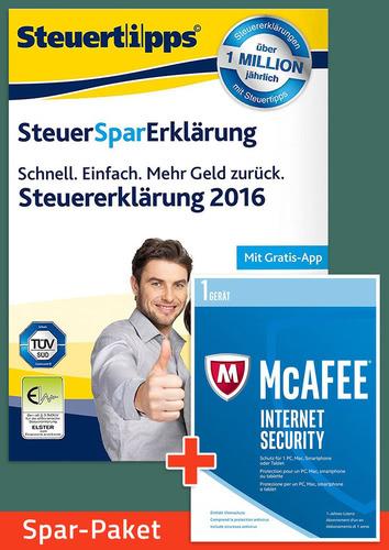 Verpackung von Sparpaket: SteuerSparErklärung 2017 + McAfee Internet Security [PC-Software]