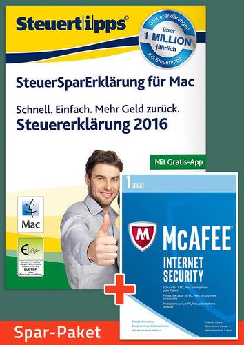 Verpackung von Sparpaket: SteuerSparErklärung 2017 + McAfee Internet Security für Mac [Mac-Software]