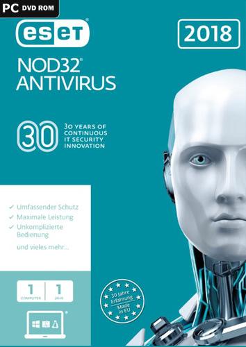 Verpackung von ESET NOD32 Antivirus 2018 Edition (FFP) - 1 Nutzer 12 Monate [PC-Software]