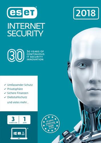 Verpackung von ESET Internet Security 2018 Edition - 3 Nutzer 12 Monate (FFP) [PC-Software]