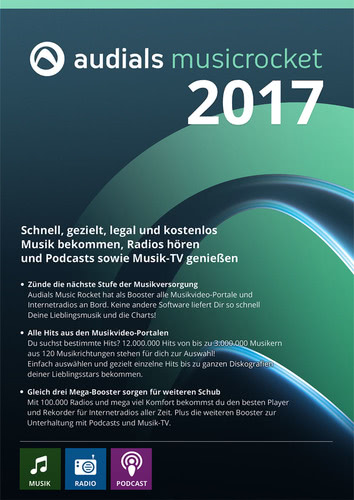 Verpackung von Audials Music Rocket 2017 [PC-Software]