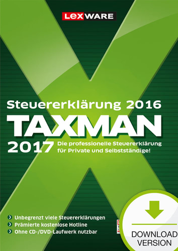 Verpackung von TAXMAN 2017 als Download für Steuererklärung 2016 [PC-Software]