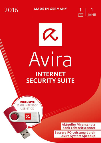 Verpackung von Avira Internet Security Suite inkl. 16GB USB Stick - 1 Gerät / 12 Monate [PC-Software]
