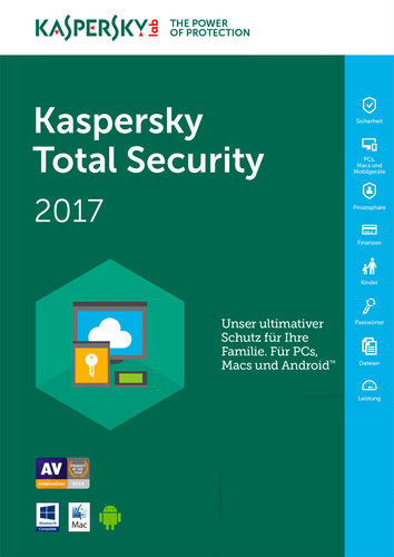 Verpackung von Kaspersky Total Security Multi-Device 2017 Upgrade 3 Geräte - 12 Monate [MULTIPLATFORM]