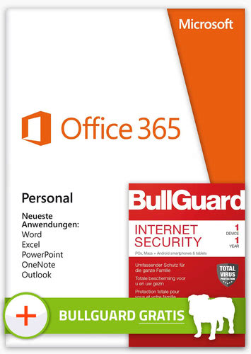 Verpackung von Office 365 Personal - 1 User / 12 Monate (inkl. BullGuard Internet Security 2019 1 Gerät) [PC-Software]