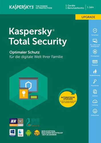 Verpackung von Kaspersky Total Security (Code in Box) (FFP) Upgrade - 1 Gerät / 12 Monate [MULTIPLATFORM]