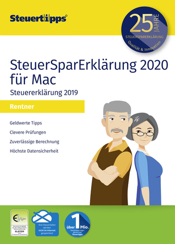 Verpackung von SteuerSparErklärung 2020 Rentner für Steuerjahr 2019 (MAC) [Mac-Software]