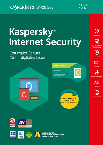 Kaspersky Internet Security + Android Sec. (Code in a Box) (FFP) – 1 Gerät / 12 Monate