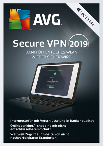 AVG SecureVPN 2019- 1 PC / 1 Jahr (Download), PC