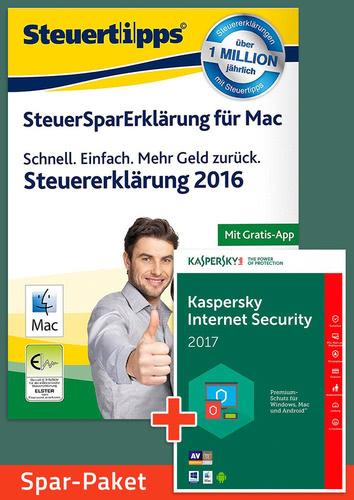 Verpackung von Sparpaket: SteuerSparErklärung 2017 + Kaspersky Internet Security für Mac [Mac-Software]