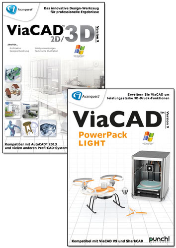 Verpackung von ViaCAD 2D/3D 9 + PowerPack LIGHT (Windows) [PC-Software]