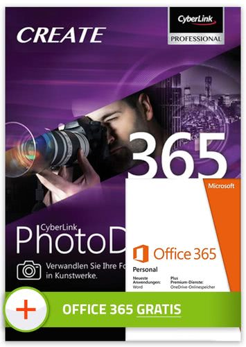 Verpackung von CyberLink PhotoDirector 365 (inkl. Office 365 Personal) 1 User / 1 Jahr [PC-Software]