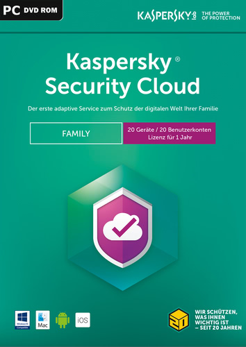 Verpackung von Kaspersky Security Cloud (2018) Family Edition - 20 Geräte / 12 Monate [MULTIPLATFORM]