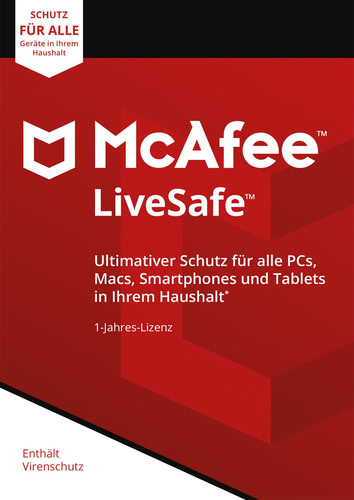 Verpackung von McAfee LiveSafe 2018 Unlimited Devices / 12 Monate [MULTIPLATFORM]