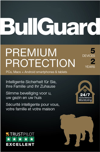 Verpackung von BullGuard Premium Protection 2019 5 Geräte 24 Monate [MULTIPLATFORM]