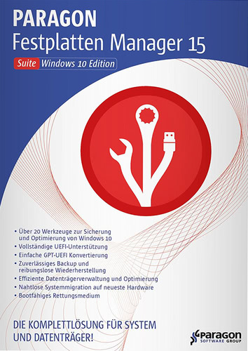 Verpackung von Paragon Festplatten Manager 15 Suite - Windows 10 Edition [PC-Software]