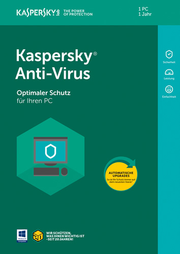 Verpackung von Kaspersky Anti-Virus (Code in a Box) (FFP) - 1 Gerät 12 Monate [PC-Software]