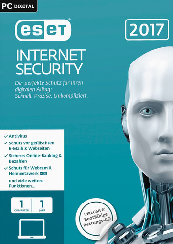Verpackung von ESET Internet Security 2017 Edition - 1 Nutzer 12 Monate [PC-Software]