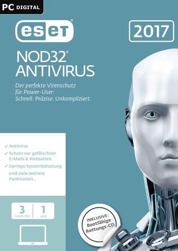 Verpackung von ESET NOD32 Antivirus 2017 Edition - 3 Nutzer 12 Monate [PC-Software]