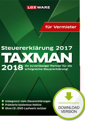 Verpackung von TAXMAN 2018 für Vermieter (für Steuerjahr 2017) [PC-Software]
