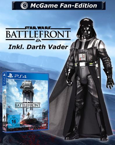 Verpackung von Star Wars Battlefront Fan-Edition inkl. PreOrder Bonus & 50 cm Darth Vader Figur [PS4]