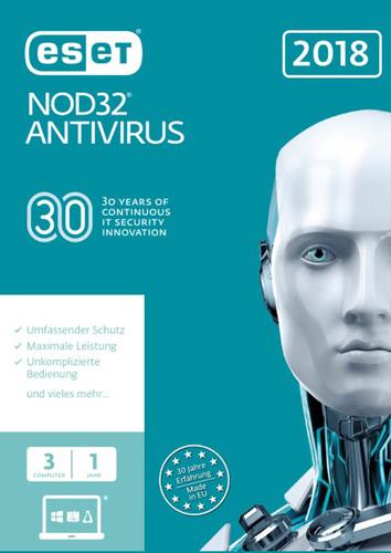 Verpackung von ESET NOD32 Antivirus 2018 Edition - 3 Nutzer 12 Monate [PC-Software]