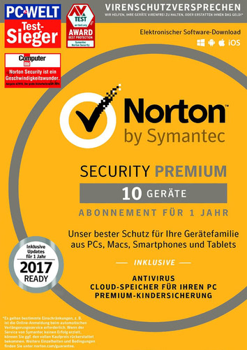 Symantec Norton Security 3.0 (2017) Premium - 10 Geräte, Box (PC)