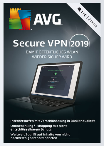 AVG SecureVPN 2019- 1 PC / 2 Jahre (Download), PC