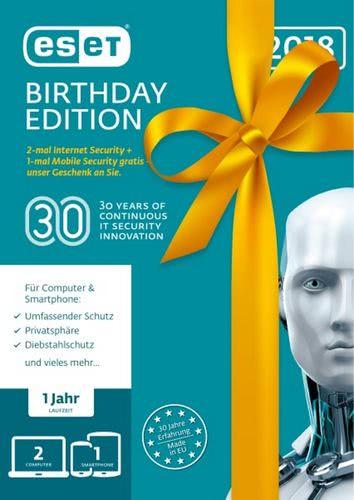 Verpackung von ESET Birthday Edition (2x ESET Internet Sec. + 1x ESET Mobile Sec.) - 3 Geräte 12 Monate [PC-Software]