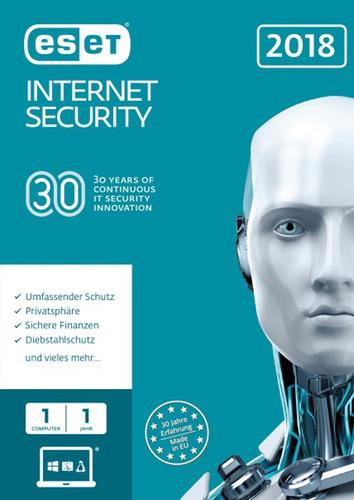 Verpackung von ESET Internet Security 2018 Edition - 1 Nutzer 12 Monate [PC-Software]