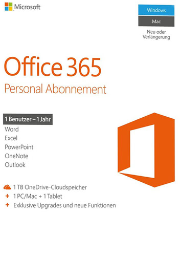 Microsoft Office 365 Personal – 1 User / 12 Monate (Produkt-Key ohne Datenträger)