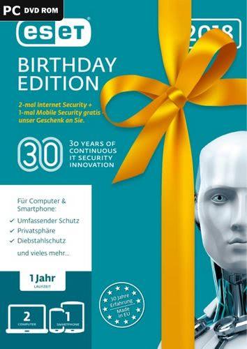 Verpackung von ESET Birthday Edition 2018 (2x ESET Internet Sec. + 1x ESET Mobile Sec.) (FFP) - 3 Geräte 12 Monate [PC-Software]