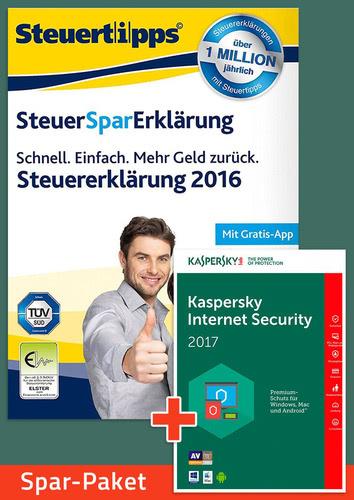 Verpackung von Sparpaket: SteuerSparErklärung 2017 + Kaspersky Internet Security [PC-Software]