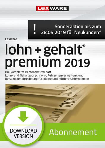 lohn+gehalt Premium 2019 Abonnement (Aktionspreis) (Download), PC