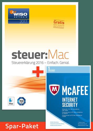 Verpackung von Sparpaket: WISO steuer:MAC 2017 (für die Steuerklärung 2016) + McAfee Internet Security für 1 Jahr [Mac-Software]