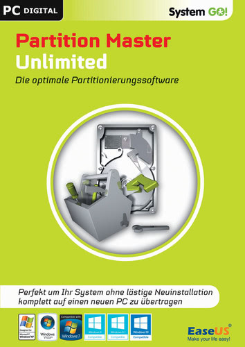 Verpackung von EaseUS System GO! Partition Master Unlimited [PC-Software]