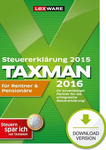 Verpackung von TAXMAN 2016 für Rentner & Pensionäre (für Steuerjahr 2015) [PC-Software]