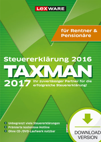 TAXMAN 2017 Rentner&Pensionäre (für Steuerjahr 2016) (Download), PC