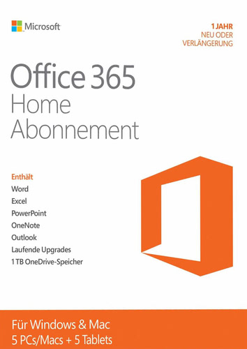 Microsoft Office 365 Home – 5 User / 12 Monate (Produkt-Key ohne Datenträger)