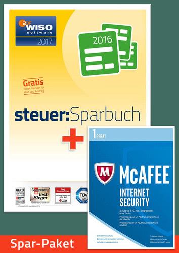 Verpackung von Sparpaket: WISO steuer:Sparbuch 2017 (für die Steuerklärung 2016) + McAfee Internet Security für 1 Jahr [PC-Software]